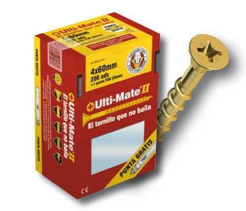 Ulti-Mate II B40016S Caja peque/ña con tornillos de alto rendimiento para madera acabado ZINCADO de 4,0 x 16 mm Set de 15 Piezas