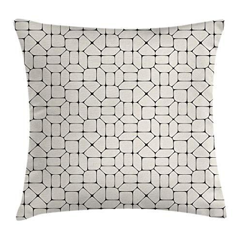 Funda de cojín de almohada geométrica, ladrillos de baldosas de pavimento de mosaico en blanco y negro, diseño de tracería conceptual moderno, funda de almohada decorativa cuadrada decorativa, beige n