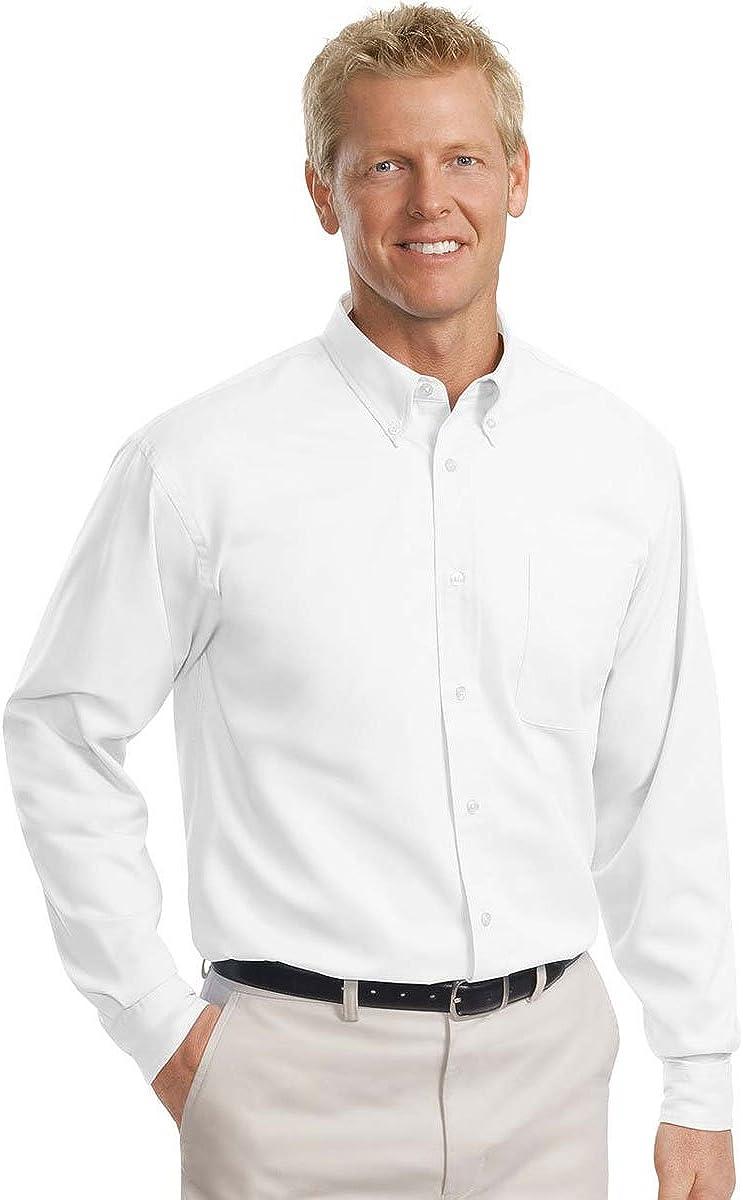 Port Authority - Tall Long Sleeve Easy Care Shirt. >> LT,White/Light Stone