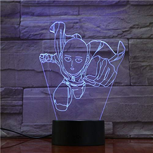 jiushixw 3D acryl nachtlampje met afstandsbediening van kleur veranderende tafellamp Punch Superman Action Cartoon karakter Punch Superman model hoge tafellamp