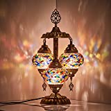 DEMMEX 2019 Stunning 3 Globe Turkish Moroccan Bohemian Table Desk Bedside Night Lamp Light Lampshade with North American Plug & Socket, 19 Inches (Turkish Rug)