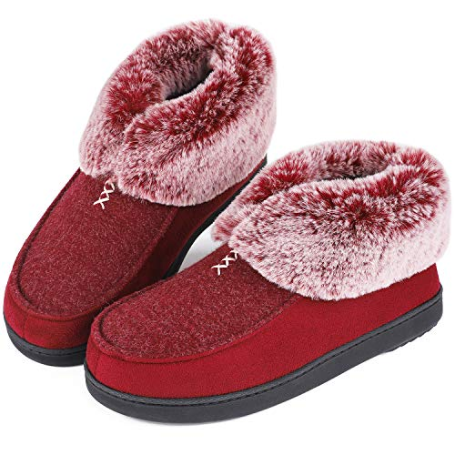 Womens Cozy Memory Foam Slippers Fluffy Wool Like Faux Fur Fleece Lined House Shoes with Non Skid Indoor Outdoor Sole (7 B(M) US, Burgundy)