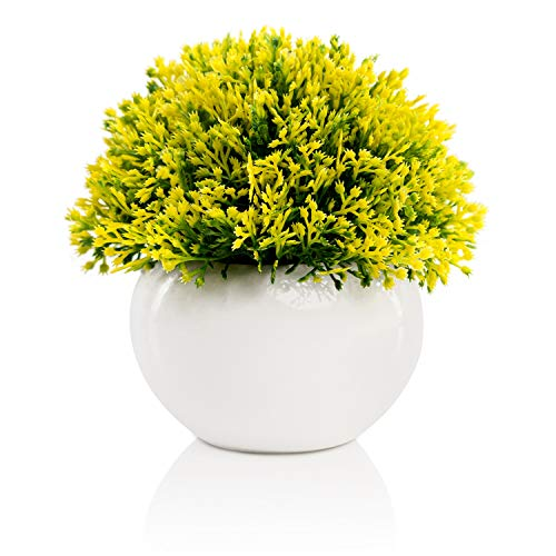 Mini Artificial Plant in White Ceramic Pot | Decorative Faux Plant for Home/Office Decor | Small Potted Topiary | Farmhouse Decor Accent | Desk/Kitchen/Bathroom/Shelf Fake Plant (Yellow & Green)