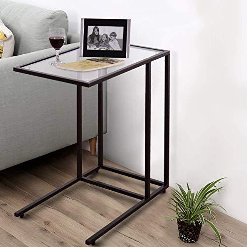 COSTWAY Tavolino da caffè Tavolo da Divano Tavolino Laterale per Salotto in Vetro ed Acciaio, 55,5 x 35 x 65 cm