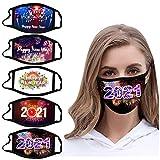 757 5 Stück Herren Damen Mundschutz mit Motiv Neujahr 2021 Print Maske Schal Waschbar Mehrweg Multifunktionstuch Mund und Nasenschutz Multifunktionstuch Atmungsaktiv Halstuch Bandana