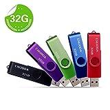Lot de 5 Clé USB 32 Go ENUODA USB 2.0 Flash Drive Stockage Rotation Disque Mémoire Stick (Mixte Couleur:Rouge Vert...
