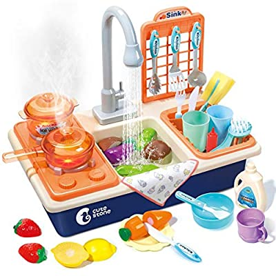 CUTE STONE Pretend Play Kitchen Sink Toys with Play Cooking Stove, Pot and Pan with Spray Realistic Light and Sound, Dish Rack & Play Cutting Food, Utensils Tableware Accessories for Toddlers Kids from CUTE STONE