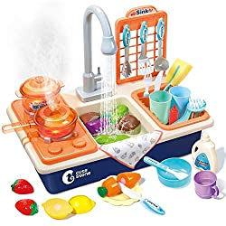 CUTE STONE Pretend Play Kitchen Sink Toys with Play Cooking Stove, Pot and Pan with Spray Realistic Light and Sound, Dish Rack & Play Cutting Food, Utensils Tableware Accessories for Toddlers Kids