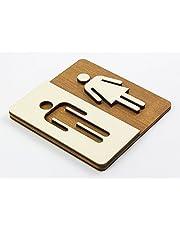 WC-bord notenboom donker hout toiletbord toilet deurplaat dames heren pictogram (14x14cm) art.nr. 4001