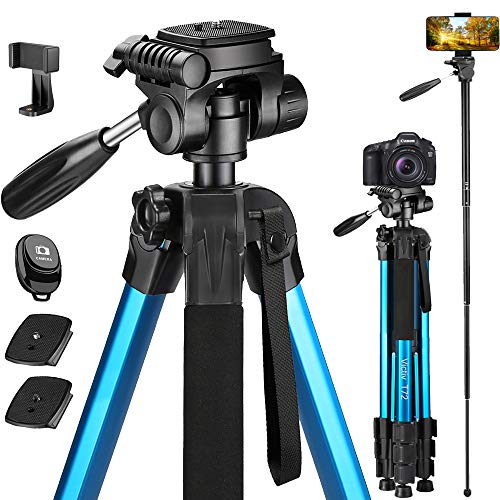 Victiv 72-inch Camera Tripod Aluminum T72 with Phone Tripod Mount- Lightweight Tripod & Monopod Compact for Travel with 2 Quick Release Plates for Canon Nikon DSLR Video Shooting - Blue