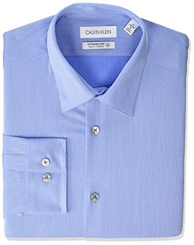 Calvin Klein Dress Shirt Slim Fit Non Iron Stretch Solid Camisa de Vestir para Hombre