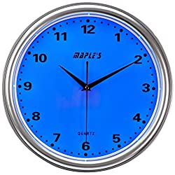 Maple's Clock Blue LED Plastic Wall Clock, 14-Inch