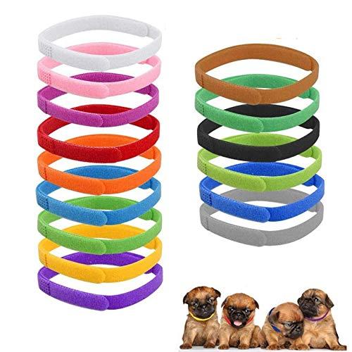Collares Ajustables De Doble Cara Collares De Nailon Multicolor para Cachorros Collares De Identificación De Gatitos Collares De Cachorros Recién Nacidos para Identificar Pequeños y Gatos Recién