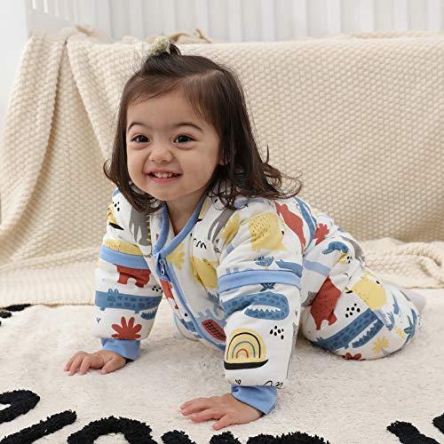 Baby Schlafsack mit Beinen Warm gefüttert winter kinder schlafsack abnehmbaren Ärmeln,Junge Mädchen Unisex Schlafanzug (Red Bear,18-36 Monate(baby height 85-95cm)) - 5
