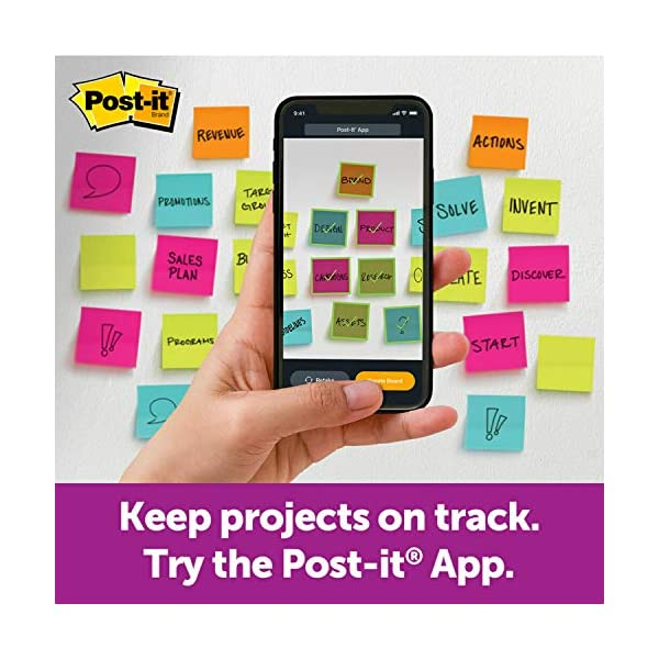 """Post-It Super Sticky Notes Assorted Sizes 15/Pkg-Miami 2""""X2"""", 3""""X3"""", 4""""X4"""" : Post-It Super Sticky Notas Tallas surtidas Colección Miami"""