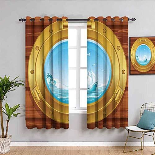 Nautical Decor Collection - Cortina decorativa (latón, diseño de ojo de buey en un panel de madera y palmeras, isla de pájaros, patrón de imagen repetible, uso dorado Perú, azul, 84 x 84 pulga
