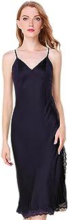 (MAYUDAMAシルク)シルク100% シルク ロングスリップ 刺繍レース Vネック ネグリジェ ハーネス ドレス ナイトドレス セクシー 優雅 エレガント レディース 選べるサイズ?カラー