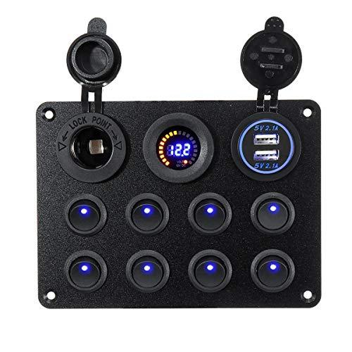 FOUCAII ON Off USB Voltaje de Interior controla Barco del Coche LED Marina Rocker disyuntor 8 Interruptor de la cuadrilla Panel 12V-24V Alterna luz Marina