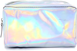 Rockrok Holographic Makeup Bag - Cute Pencil Case Fashion Cosmetic Pouch Zipper Purse Storage Bag for Women (Silver)