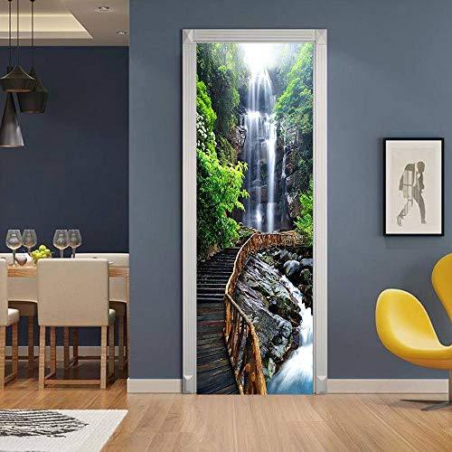 3D kreative Glastür Aufkleber Wasserfall Holzbrücke Tapete Poster Home Decoration Tür Aufkleber Badezimmer Wohnzimmer 77x200cm