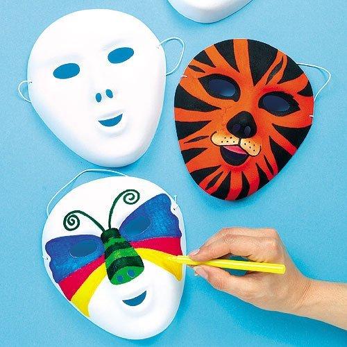 Baker Ross Máscaras flocadas en blanco que los niños pueden diseñar, pintar y usar como parte de un disfraz en una fiesta infantil de carnaval (pack de 8).
