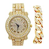 Bling-ed Out Silver Round Luxury Mens Watch w/Bling-ed Out Cuban Bracelet - L0504B - Cuban (Gold)