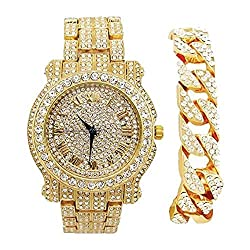 in budget affordable Silver Round Luxury Sequins Men's Watches with Sequins Cuba Bracelet – L0504B – Cuba (Gold)