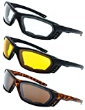 3 Pairs Motorcycle Riding Glasses Padded Frame Lens Block 100% UVB for Outdoor Activity Sport (6-Matte Black/Tortoise, Clear, Yellow, Brown)