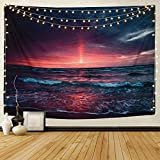 Martine Mall Tapestry Wall Tapestry Wall Hanging TapestriesHawaiianWave Wall Tapestries, Splendid Sea with Sun Wall Blanket Wall Art for Home Living Room Dorm Decor, 59.1' x 51.2'