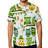 Camiseta de manga corta para hombre, diseño de búhos de San Patricio Multicolor multicolor M