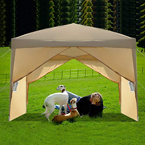 SSLine 10'x10' EZ Pop up Party Tent Outdoor Waterproof Wedding Tent Portable Folding Patio Gazebo Canopies with Carry Bag Heavy Duty Canopy Event Tent for Parties BBQ Market Stall - Khaki/4 Sidewalls