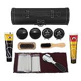 BONSYL Kit di manutenzione e pulizia per scarpe.spazzola da scarpe in legno, scatola cilindri in pelle, set di spazzole da viaggio.