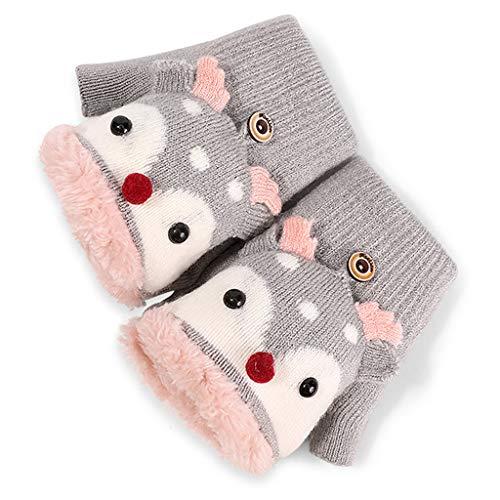 gszfsm001 Kids Winter Knit Convertible Gloves Cartoon Reindeer Plush Lined Flip Top Mitten