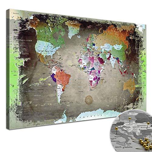 """LANA KK - Weltkarte Leinwandbild mit Korkrückwand zum pinnen der Reiseziele – """"Weltkarte Bunt Dark"""" - deutsch - Kunstdruck-Pinnwand Globus in braun, in 100x70cm"""