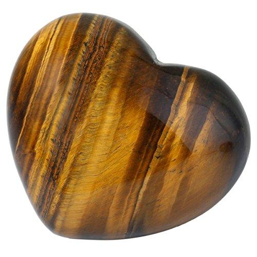 rockcloud Healing Crystal Tiger's Eye Heart Love Carved Palm Worry Stone Chakra Reiki Balancing
