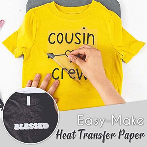 Easy Make - 20 unidades de papel de transferencia térmica; crea tu propia camiseta en solo unos minutos