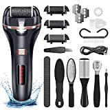 Electric Callus Remover for Feet,Rechargeable Foot File Hard Skin Remover,Waterproof 14 in1 Professional Pedicure Kit for Cracked Heels Calluses&Dead Skin,with 3 Roller Heads 2 Speed, Battery Display