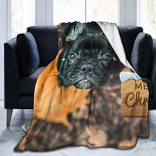 uytrgh Manta de Franela, Boston Terrier con Borde Cosido con Hojas, Mantas acogedoras, Alfombra térmica portátil de Felpa para sofá Cama, 60 x 50 Pulgadas