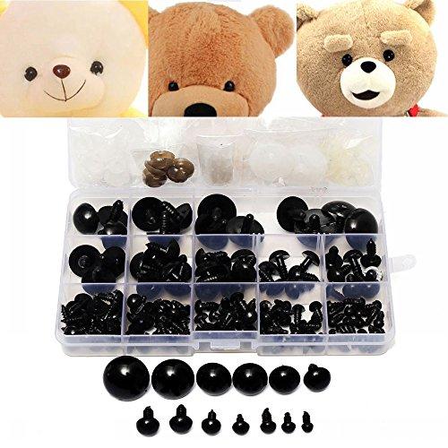 Kungfu Mall 154pcs 6 à 24mm enfants kid plastique noir yeux de sécurité rondelles ours en peluche poupée animales cas bricolage jouets
