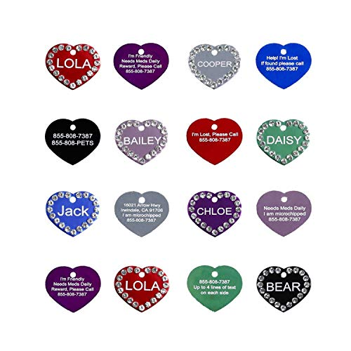 Crystal Pet ID Tags - Engraved Personalized Dog Tags, Cat Tags Front & Back up to 5 Lines of Text – Bone, Heart