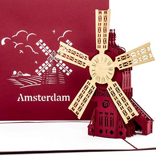Tarjeta pop-up de Amsterdam – Molino de viento – Tarjeta 3D como regalo & tarjeta de cumpleaños – recuerdo, decoración, regalo y vales de viaje Holanda & Amsterdam