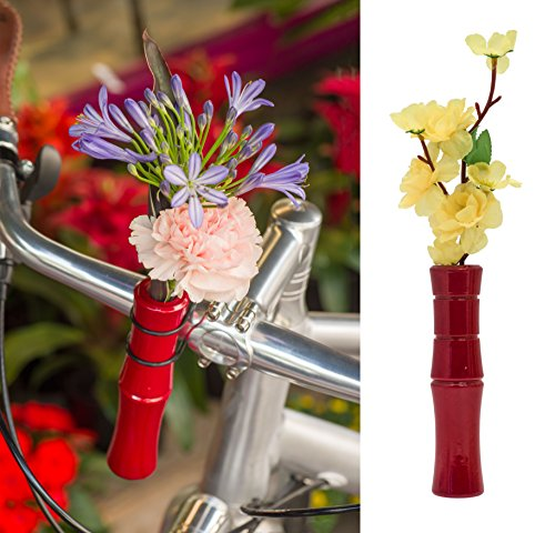 Liix Flower Vase Bamboo Blumenvase für Fahrradlenker braun