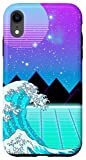 iPhone XR Vaporwave Aesthetic Great Wave Grid Sunset Gift Case
