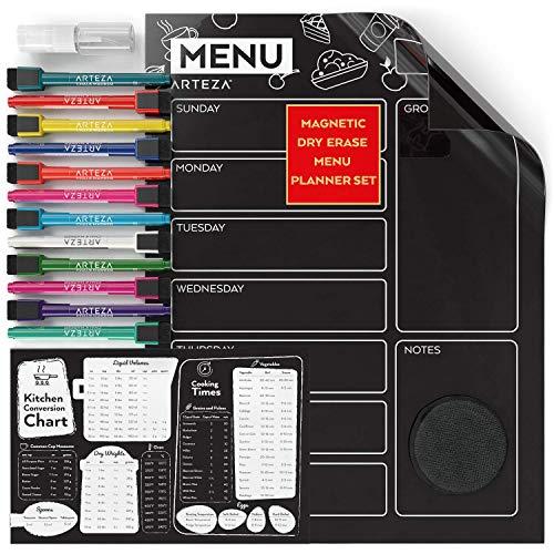Arteza Pizarra magnética negra con planificador de comidas | 40,64 x 30,48cm | Incluye tabla de medidas para cocina + 12 rotuladores finos de tiza líquida + 1 esponja de microfibra + 1 frasco difusor