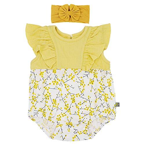 "Flyish Baby Mädchen Strampler Kleinkinder Sommer Outfit Mädchen Schmetterling à""rmel Kleidung Sets Overall Outfit, Gelb, 18-24Monate"