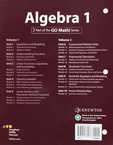 Hmh Algebra 1: Interactive Student Edition Volume 2 2015