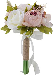 Amoleya Flower Bouquet, 6 Inch Vintage Wedding Bouquet Artificial Flowers for Bride and Bridesmaids