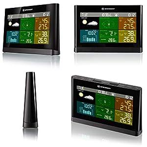 Bresser Wetterstation Funk mit Außensensor Wetter Center mit 5-in-1 Außensensor (Temperatur, Luftdruck, Luftfeuchtigkeit, Windmesser, Regenmesser)
