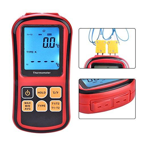 Jadpes Termometro,JadpesTermometro a termocoppia Digitale, Display LCD Digitale a Doppio Canale Tester del misuratore di Temperatura per sonda di termocoppia Tipo K/J/T/E/R/S/N