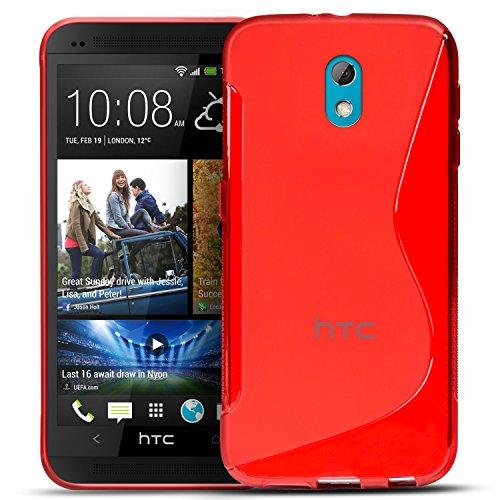 Conie SC5166 S Line Case Kompatibel mit HTC Desire 526 / 526g, TPU Smartphone Hülle Transparent Matt rutschfeste Oberfläche für Desire 526 / 526g Rückseite Design Rot